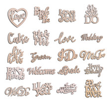 15pcs Wooden Love Wedding Mr & Mrs Wood Chips Laser Cut Wood Confetti Table Scatter DIY Accessories Wedding Party Decor