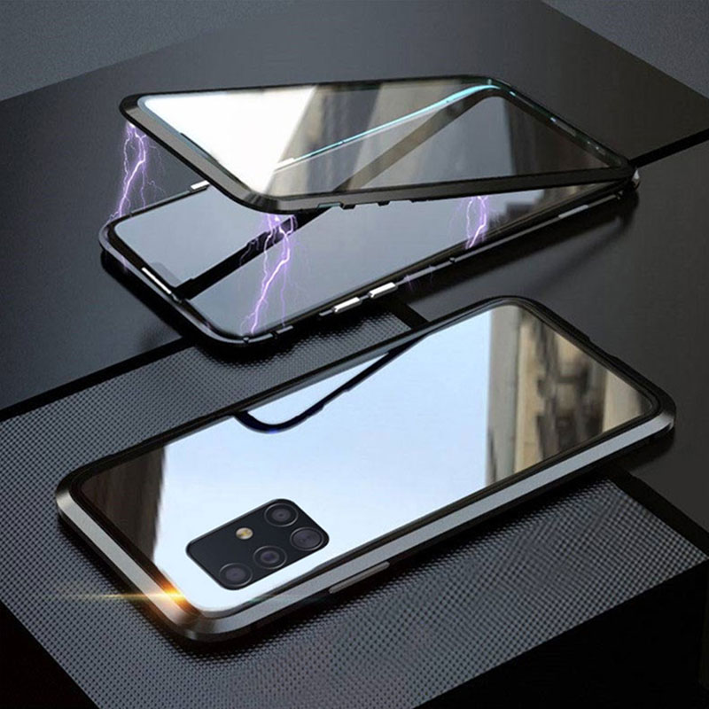 Double-Sided Magnetic 360 Protect Case For Samsung A31 A51 A71 A81 A91 A50 A70 S20 S10lite S9 S8 Plus Tempered Glass Metal Cover