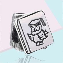 Аутентичные 925 стерлингового серебра бусины в форме Совы book/Модная