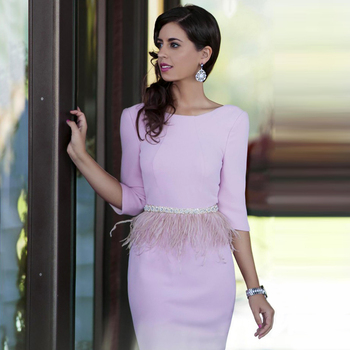 Newest 3/4 Sleeve Pink Straight 2019 Robe De Cocktail Backless Party With Rhinestone Belt And Feather mother of the bride dress