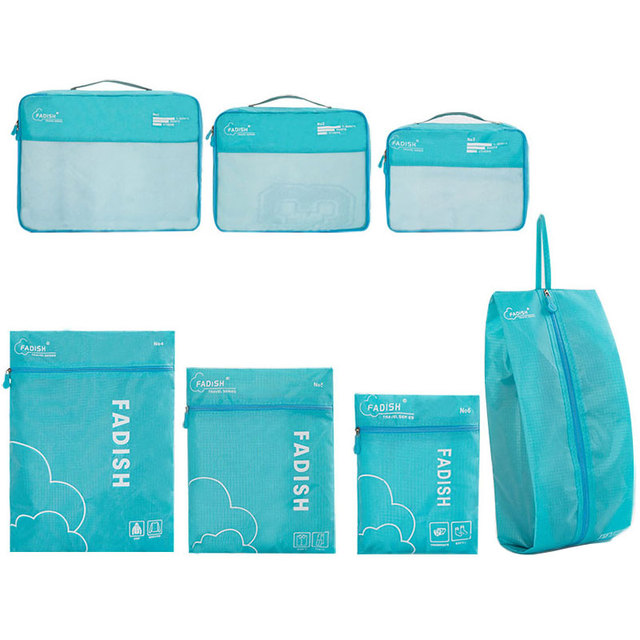 7 Pcs/Set Lightweight Polyester Travel Packing Cubes Portable Waterproof Breathable Men and Women Luggage Packing Organizers 4