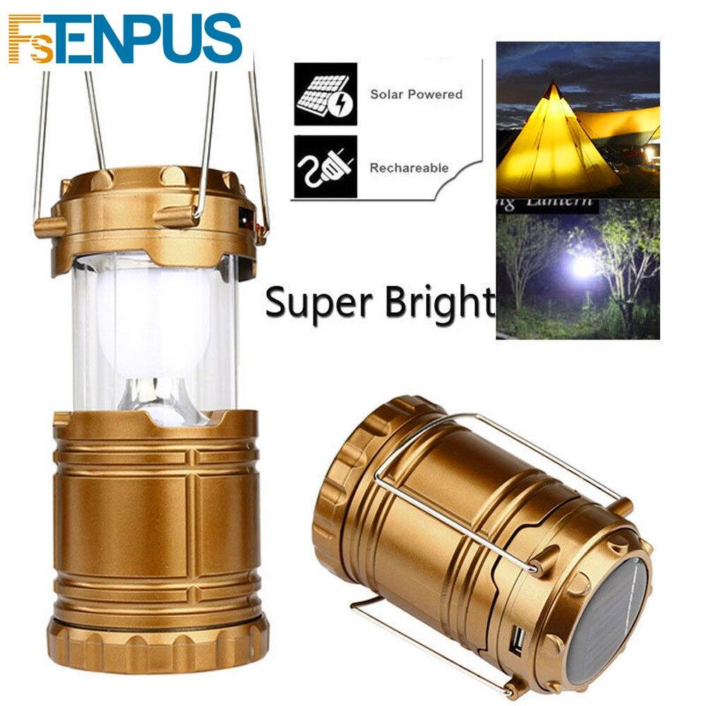 Outdoor Solar Light Lantern Camping Tent Bulb Lights USB Rechargable Torch