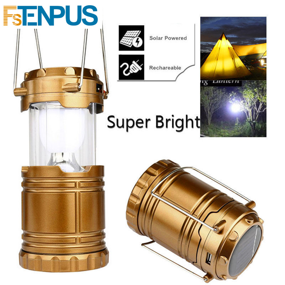Solar USB Charging Rechargeable Outdoor Camping Tent Lantern Light LED Lamp BT