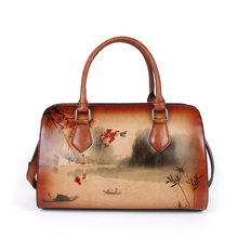 classic  Handmade Embossing Genuine Leather Luxury Handbags Women Bags 2020 New Leisure Totes Cowhide Shoulder Bags tomubird 2018 new women genuine leather bag handmade embossing flower top cowhide luxury tote women leather shoulder bags
