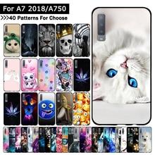 Luxury Case For Samsung Galaxy A7 2018 Flowers Cartoon Cat P