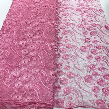 French lace fabric African embroidered tulle lace fabric Nigeria lace fabric for wedding party J36611