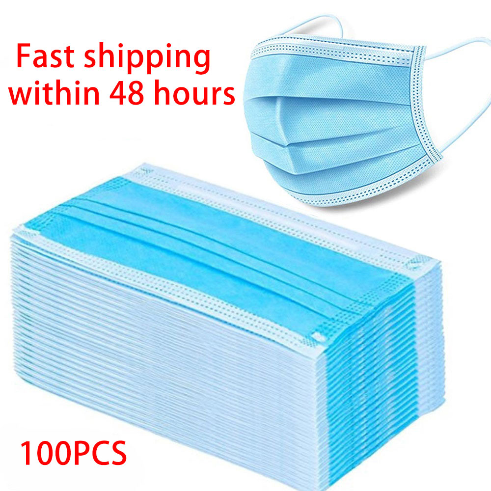 100PCS Disposable Earloop Face Mouth Masks 3 Layers Anti-Dust Mask Safe Breathable Mouth Mask Anti-dust Mask