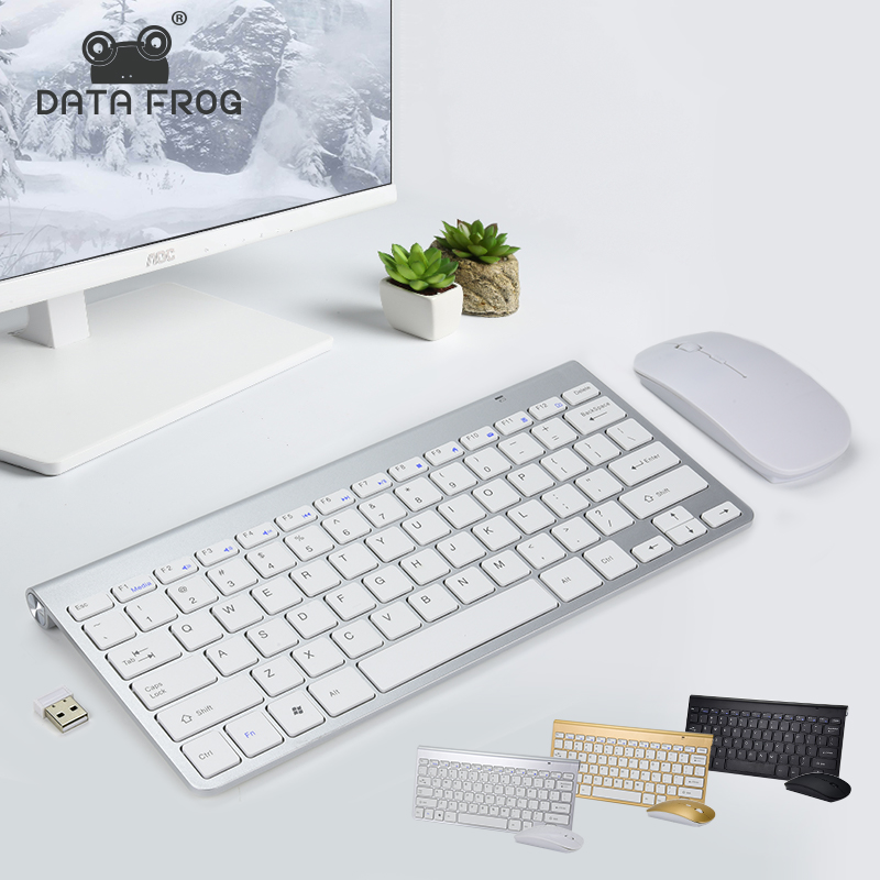 DATA FROG Portable Wireless Keyboard for IOS Android 2.4G Mini Keyboard Mouse Set For Mac/Notebook/TV Box/PC Office Supplies image