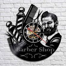 Barber Shop Oclock Decorative Wall Clocks Hairdresser Vinyl Wall Clock Modern Design 3D Watches Wall Decor For Barber Salon(China)