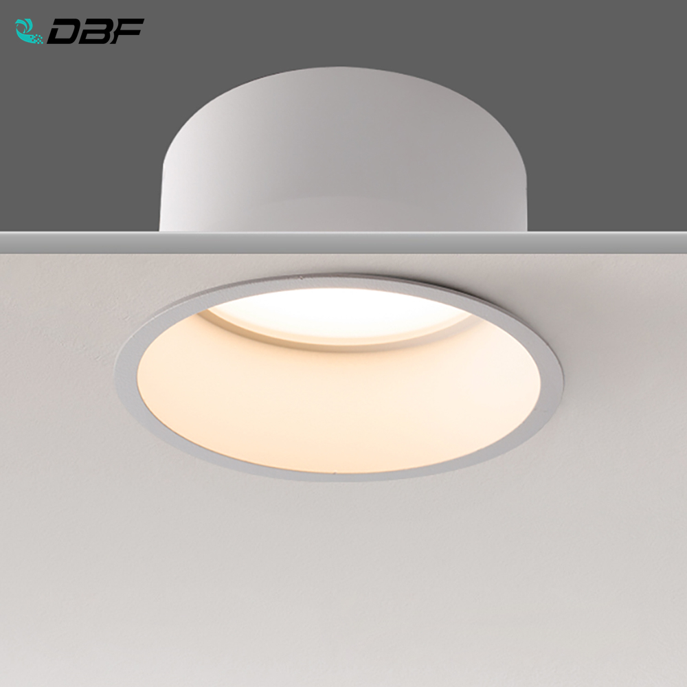 DBF No Flickering Deep Glare LED COB Recessed Downlight 5W 7W 12W 15W Round White LED Ceiling Spot Light Pic Background
