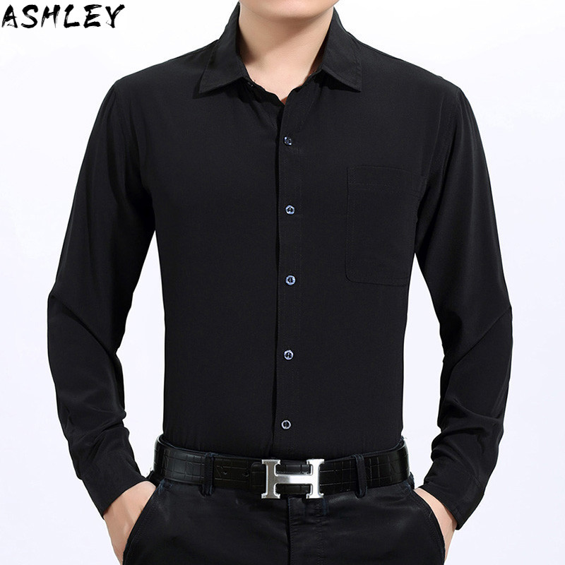 white 100% summer black silk, long sleeve shirt, formal men's dress, large shirt
