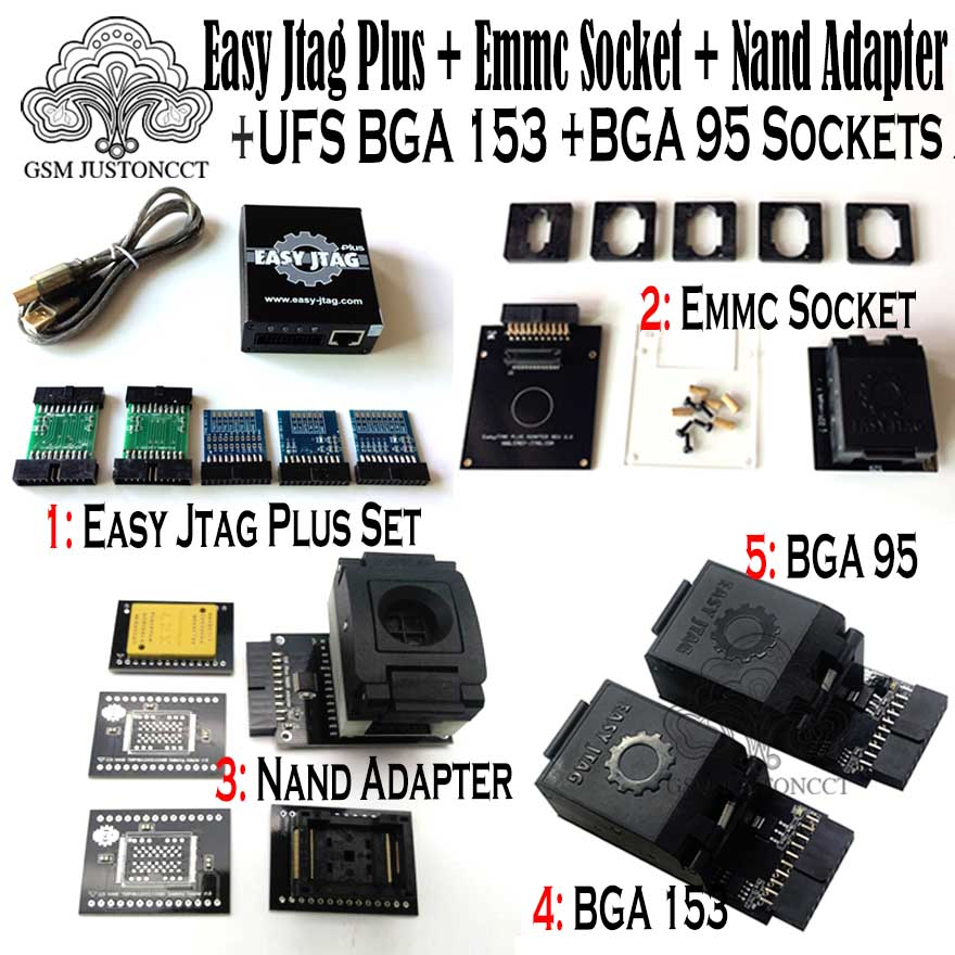 2019 Original New Easy Jtag Plus Box + Emmc Socket + Nand Adapter + Ufs Bga 153 Socket + Ufs Bga 95 Socket Adapter