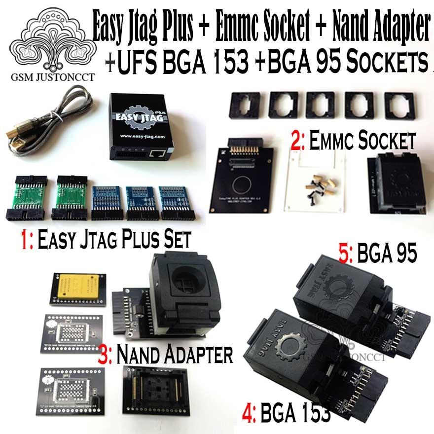 2019 original new easy jtag plus box + emmc socket + nand adapter + ufs bga 153 socket + ufs bga 95 socket adapter(China)