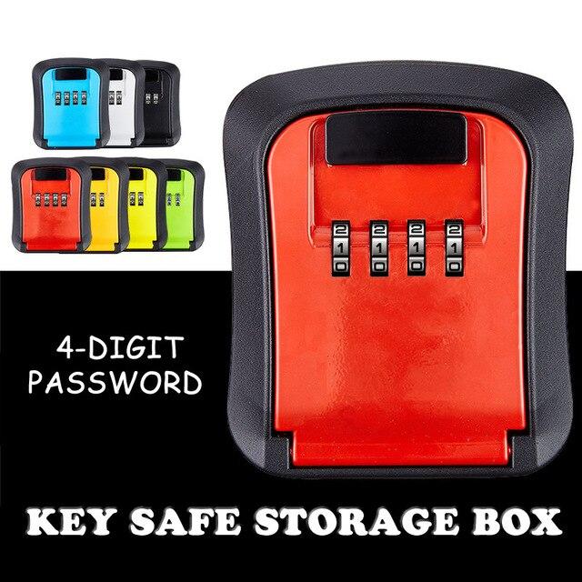 Key Safe Storage Box Wall Mounted Hidden Secret Organizer Box with 4 Digit Combination Password Lock House Car Spare Keys Safe