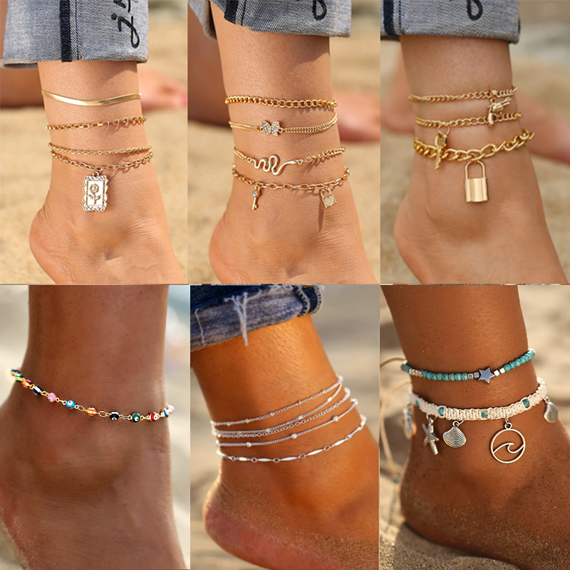 17KM Punk Multilayered Lock Snake Chain Anklet For Women 2021 Trend Gold Butterfly Shell Anklets Foot Bracelet Beach Jewelry