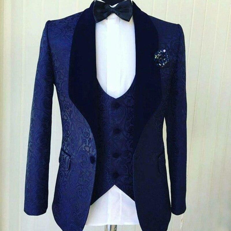 Popular Navy Blue Jacquard Men Wedding Tuxedos Velvet Shawl Lapel Groom Tuxedos Men DinnerDarty Blazer 3Piece(Jacket+pant+vest)