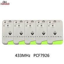 5 adet/grup, 2 düğme akıllı kart uzaktan anahtar Fob 433MHz PCF7926 ID46 çip Renault Laguna Espace Vel Satis 2001  2007