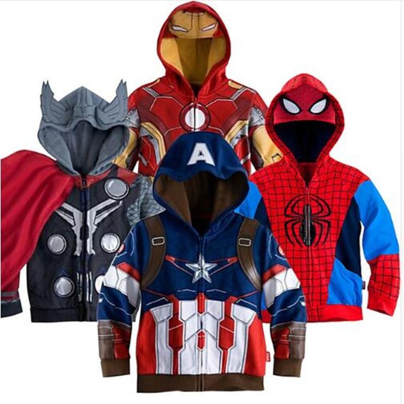 Kids Boys Marvel Avengers Hero Spider Iron Man Tony Stark Child Sweater Hoodie