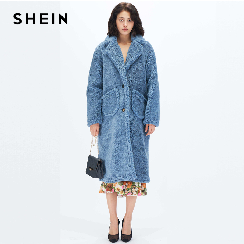 SHEIN Blue Notch Collar Single Breasted Teddy Coat Women Winter Solid Pockets Front Glamorous Outerwear Highstreet Long Coats