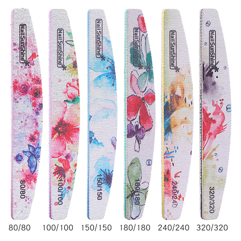 6pcs 80/100/150/180/240 Grit Nail Files Flower Boat Shape Nail Buffer Block Lime A Ongle Strong Sandpaper Washable Polisher File