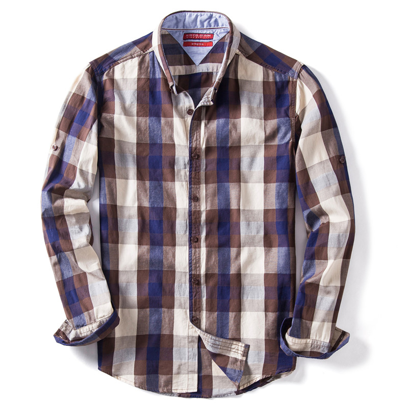 Spring 2020 Fashion 100% Cotton Plaid Shirt Men Casual Design Social Business Mens Shirts Quality Long Sleeve Mens Dress Shirts