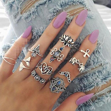 цена на Tocona 11Pcs/Set Vintage Silver Knuckle Ring Set Boho Elephant Dolphin Flower Pattern Carved Ring Crystal Jewelry for Women 9216