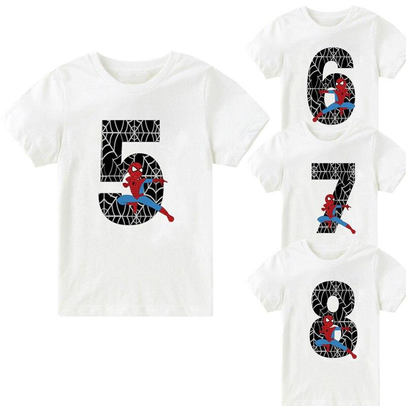 Happy Birthday 2 To 12 Number Super Hero Cartoon Children's T-shirt Summer Soft Boys T Shirt Spider Man Tshirt For Kid BAL035