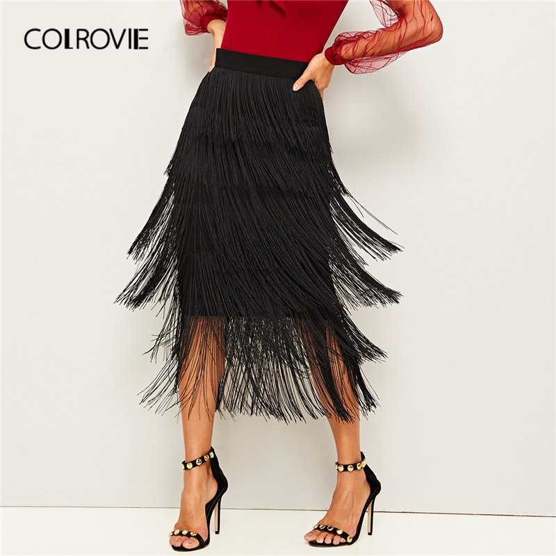 COLROVIE Black Layered Fringe Detail Pencil Skirt Women 2019 Summer Ladies Midi Skirt High Waist Bodycon Glamorous Solid Skirts