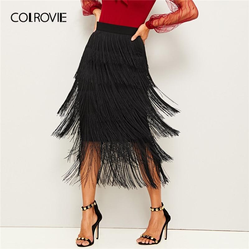 COLROVIE Black Layered Fringe Detail Pencil Skirt Women 2019 Summer Ladies Midi Skirt High Waist Bodycon Glamorous Solid Skirts