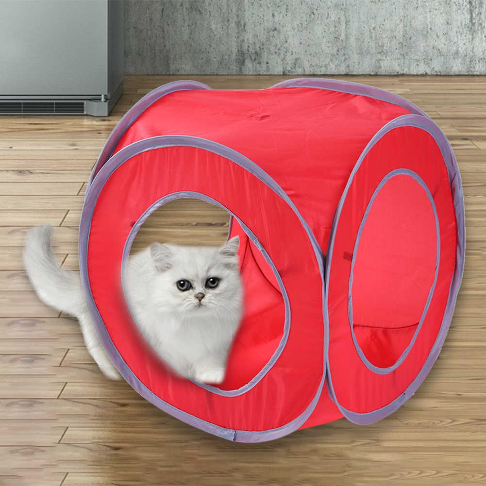 Quadrado gatinho gato túnel tubo dobrável crinkle interativo pequeno brinquedo do animal de estimação brinquedo de treinamento do gato para o gato coelho animal de estimação barraca do jogo