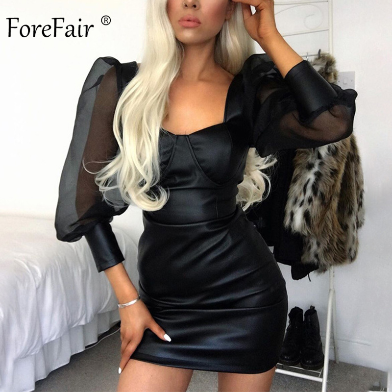 Forefair <font><b>Faux</b></font> <font><b>Leather</b></font> <font><b>Dress</b></font> Black <font><b>Sexy</b></font> Clubwear <font><b>Women</b></font> 2020 New PU Backless Bodycon Transparent Puff Sleeve <font><b>Mini</b></font> <font><b>Dress</b></font> image