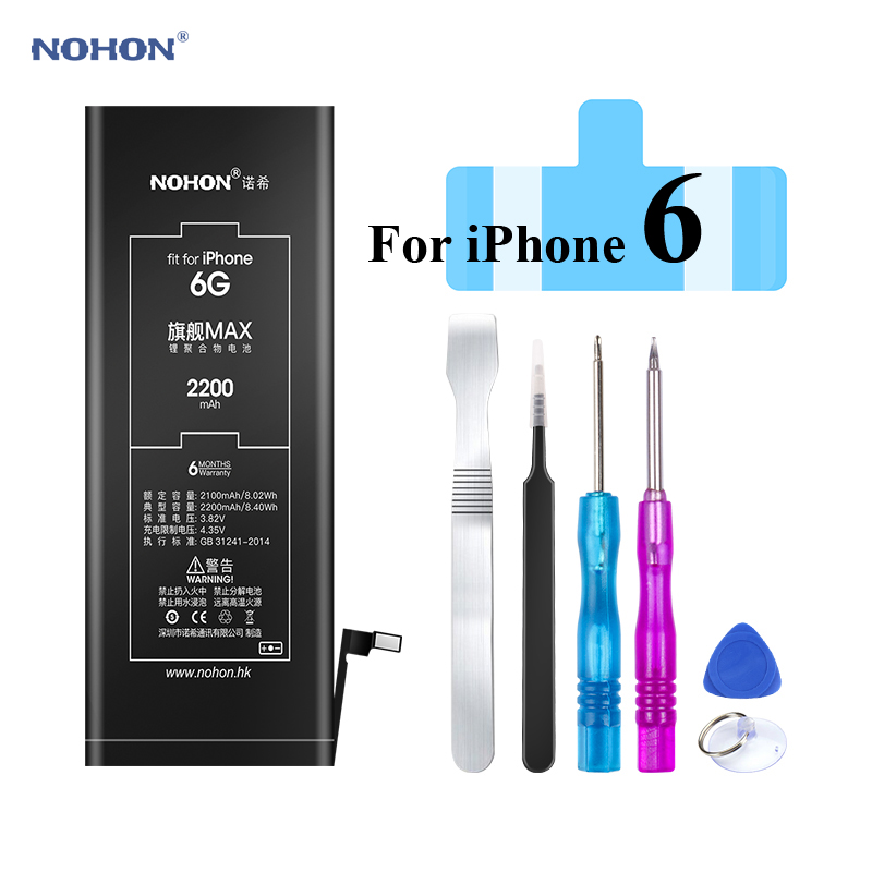 Nohon 2200mAh Battery For iPhone 6 6G i6 Apple iPhone6 Built-in Li-polymer Batteries with Free Tools For Apple iPhone 6 Battery image