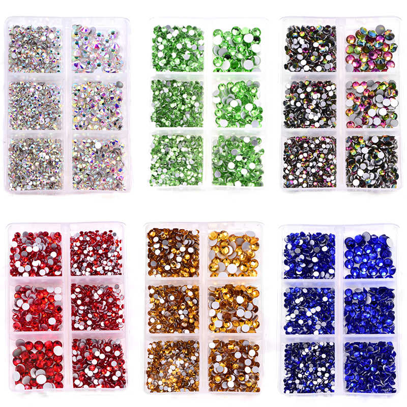 1200Pcs Mix Maten Glas Crystal Niet Hot Fix Strass Set Plaksteen Crystal Nail Steentjes Diamant Voor Diy Decoraties B3900