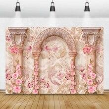 Laeacco – fleurs murales grises chics, arrière-plan pour photographie de mariage, fête prénatale, arrière-plan pour photographie de Studio Photo