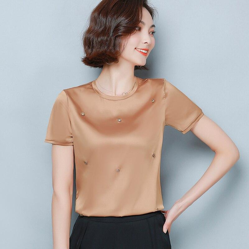Korean Fashion Silk Women Blouses Satin Office Lady Women Shirts Plus Size XXL Womens Tops and Blouses Blusas Femininas Elegante