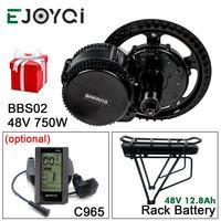 Bafang 8fun 48 v 750 w bbs02b mmg320 12.8ah cremalheira bateria engrenagem sensor 850c sw102 mid drive motor ebike kit de conversão com luz Motor p/ bicicleta elétrica     -