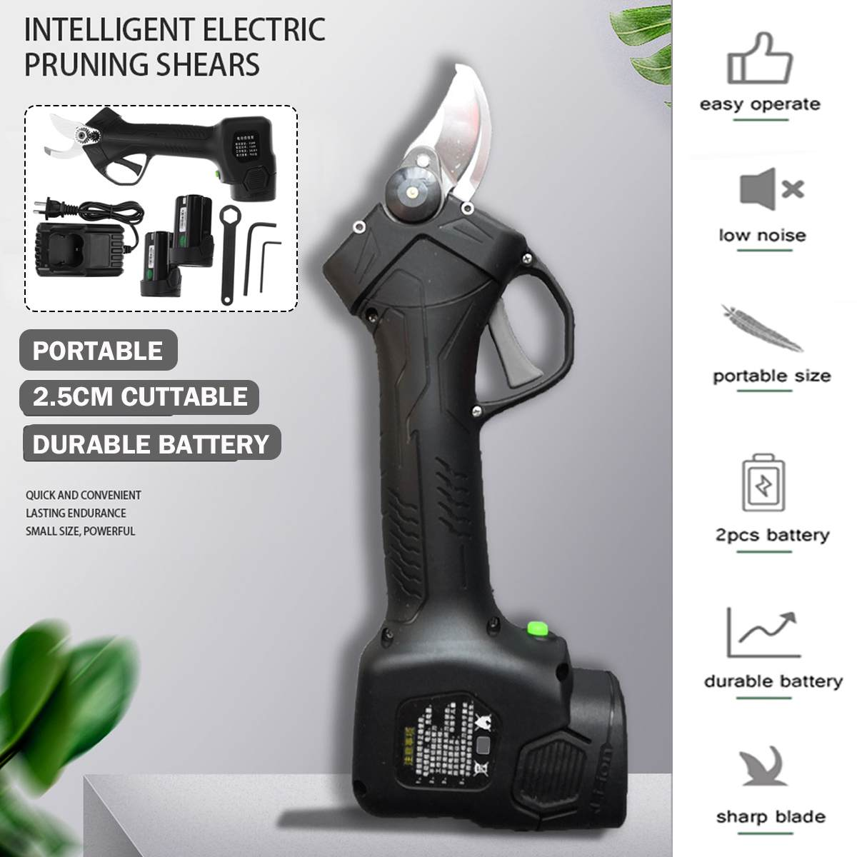 Rechargeable Electric Garden Scissors for Pruning Stems and Branches with Durable Battery and 2.5 CM Maximum Cutting 2