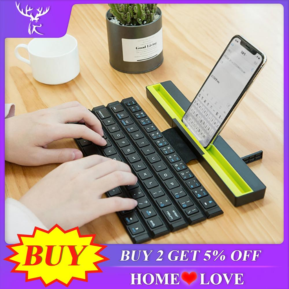 iBen Bluetooth <font><b>Keyboard</b></font> Folding Wireless Computer <font><b>Keyboard</b></font> Mini <font><b>64</b></font> Keys Foldable For Phone Tablet Laptop iPad iPhone Samsung IOS image