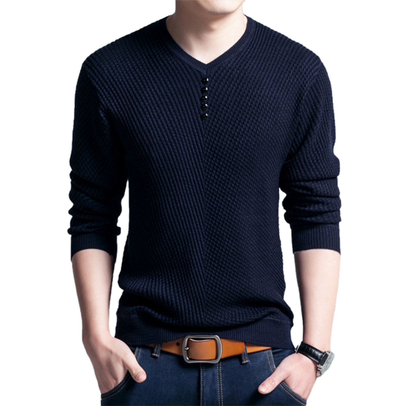 Men Long Sleeve Solid Color Buttons Decor Knitwear Plus Size Bottoming Sweater Men's Knitted Sweaters Pullover Men Knitwear 2020 4