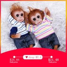 Silicone realista macaco de bebê, boneca de macaco de bebê tamanho mini de 8 polegadas, artesanal, realista, vivo, renascido, macaco com capuz, roupas