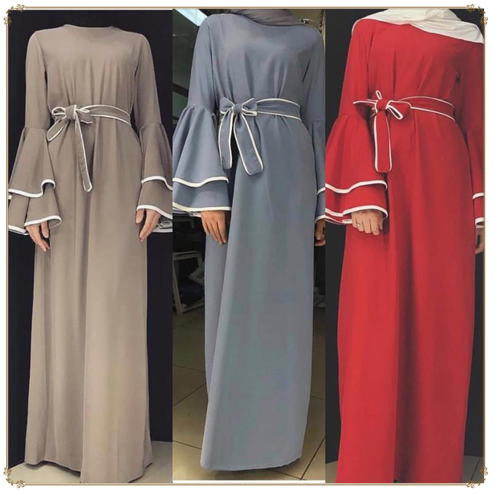 Woman Abaya Muslim Dress Jilbab Kaftan Caftan Ramadan Turkey Dubai Abayas For Women Elbise Bangladesh Turkish Islamic Clothing image