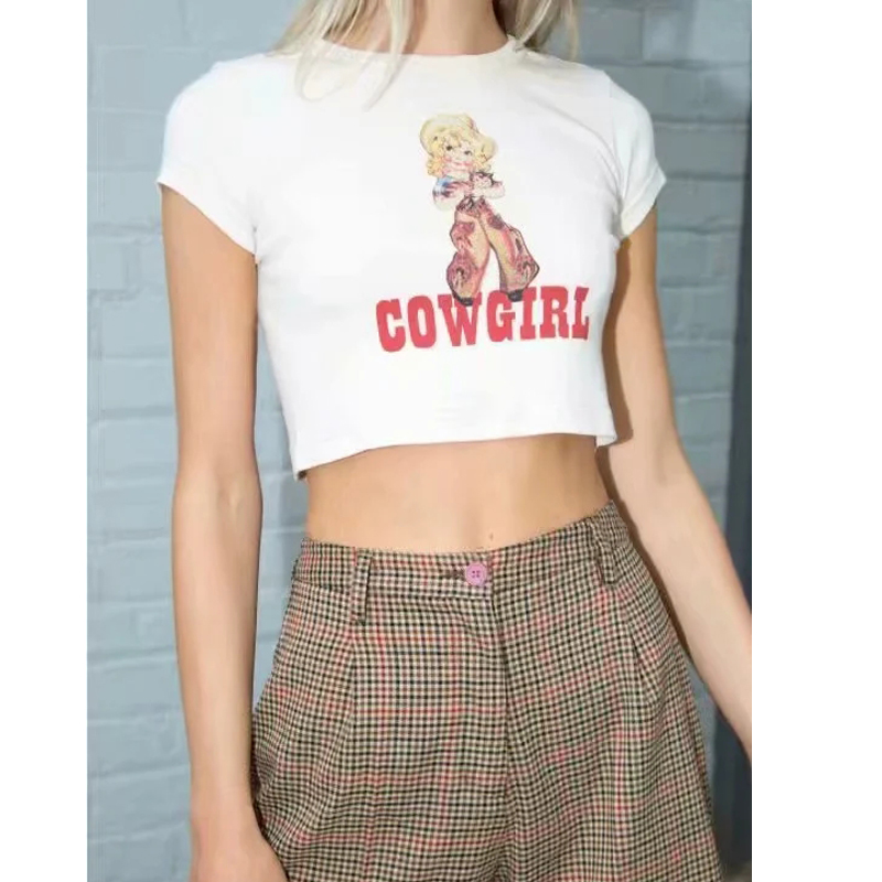 Women Cowgirl Print Crop Tee Short Sleeve Crop T-shirt