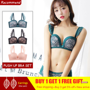 Image 2 - Women Push Up Sexy Bra Set Thick Cotton Deep V Embroidery Seamless Underwear Lingerie Black Lace Bra And Panties Set 80 Green