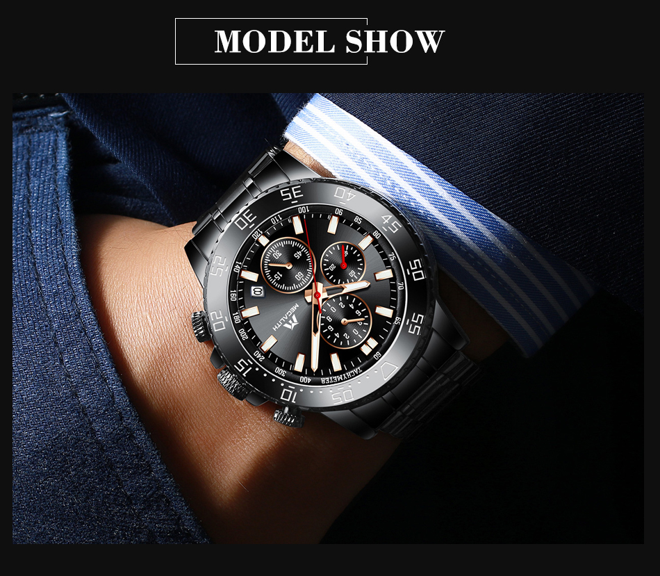 Hde30c604ce7e473cbfecf3d4733821edy MEGALITH Military Watches Men Stainless Steel Band Waterproof Quartz Wristwatch Chronograph Clock Male Fashion Sports Watch 8087