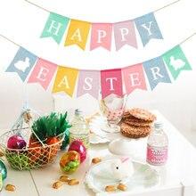 Páscoa serapilheira bunting banner pendurado decorativo andorinha cauda banner suprimentos de festa de páscoa (colorido, feliz páscoa carta)