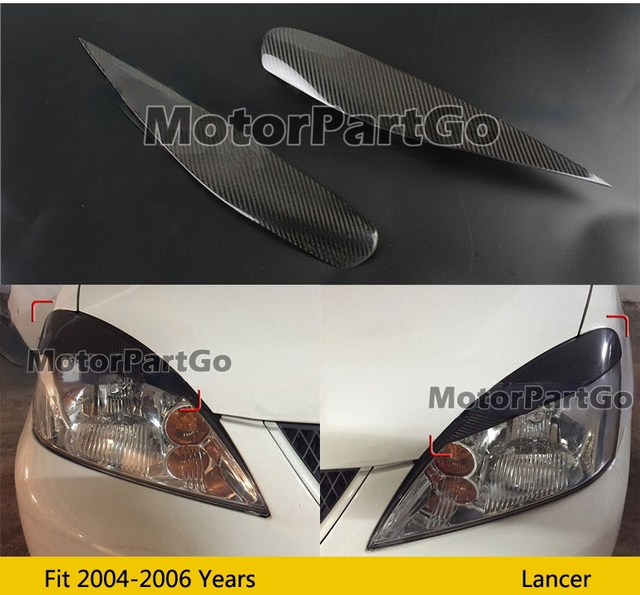 Real Crabon Fiber Head light Eyelid Eyebrow Cover Trim 1pair for Mitsubishi Lancer 2004 - 2006 T211 1