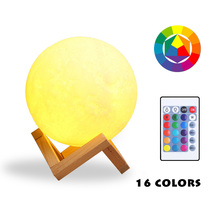 16 Colors USB 3D Print Moon Lamp Light LED Night Lights Rechargeable Remote Touch Home Decor