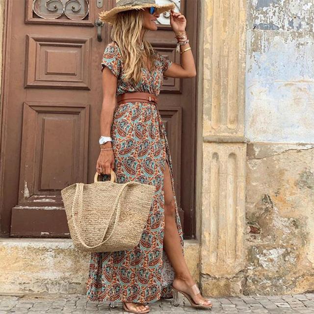 Summer Dress Women Casual Boho Bohemian Long 2021 Chiffon Oversize Short Sleeve Maxi Beach Dress Casual Elegant Sundress 6