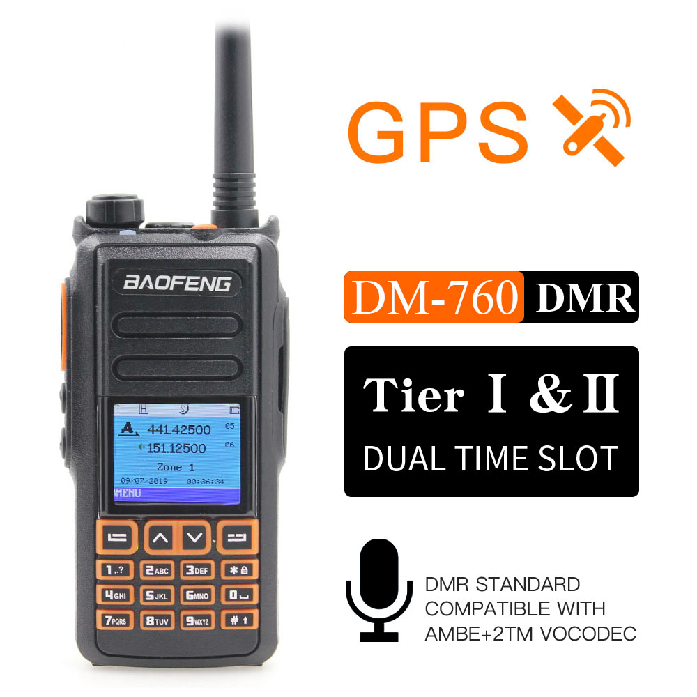 New BaoFeng DM-760 With GPS Function Dual Band 136-174&400-470mhz DMR Digital Radio Tier 1&2  Dual Time Slot Walkie Talkie