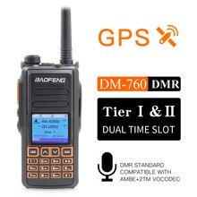 Yeni BaoFeng DM 760 GPS fonksiyonu ile çift bant 136 174 & 400 470mhz DMR dijital radyo Tier 1 ve 2 çift zaman dilimi Walkie Talkie